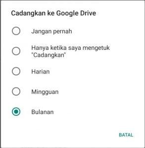 Pilihan pecadangan WhatsApp