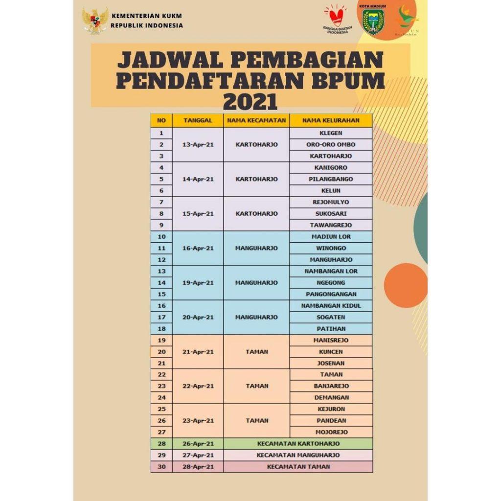 Jadwal Pembagian Pendaftaran BPUM 2021