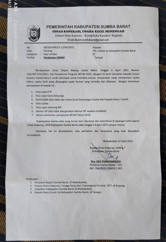 Info dari Dinas Koperasi Kab. Sumba Barat