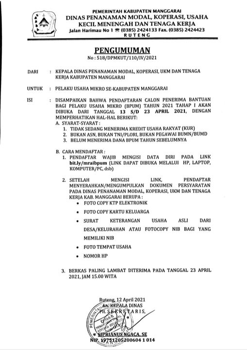 Surat Link Daftar Bantuan Banpres UMKM Kabupaten Manggarai Tahap 3
