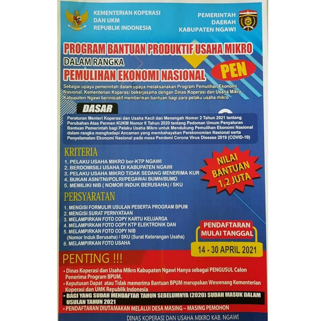 Info Pembukaan Pendaftaran Penerima BPUM 2021 Kab. Ngawi