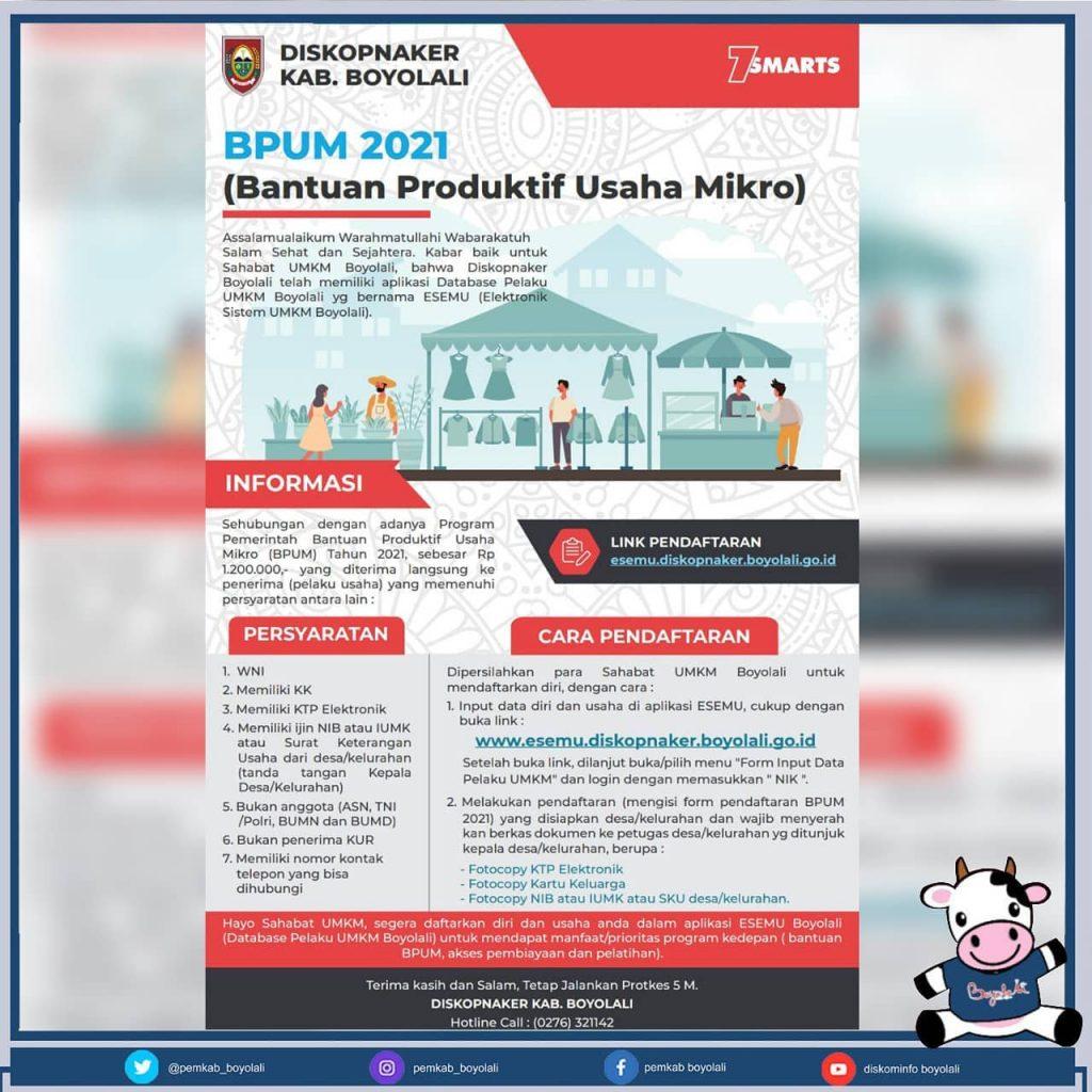 Brosur Pembukaan Pendaftaran Penerima BPUM 2021 Kab. Boyolali