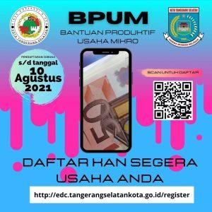 Brosur Pembukaan Pendaftaran Penerima BPUM 2021 Tahap III Kota Tangerang Selatan