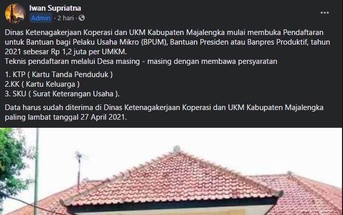 Begini Cara Mendaftar BPUM Tahap 3 2021 di Kabupaten Majalengka