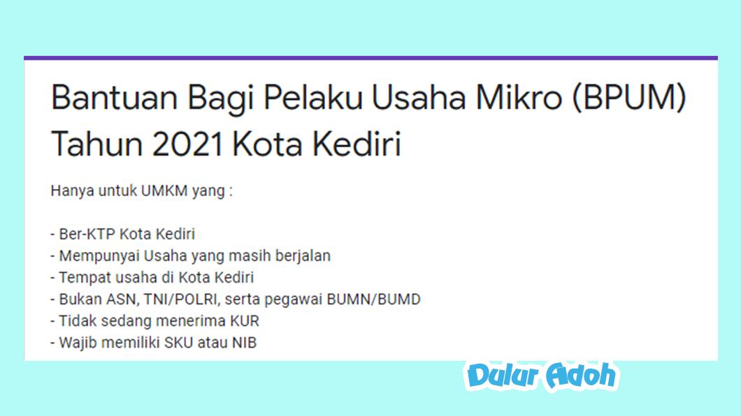 Link Pendaftaran BPUM 2021 Kota Kediri https://bit.ly/bpumkotakediri2021