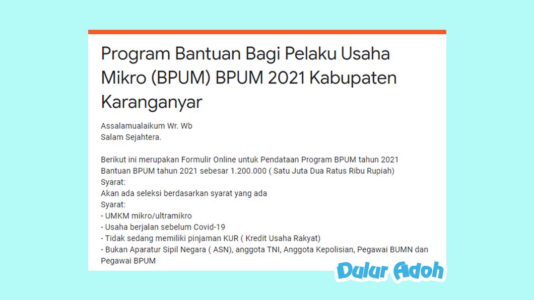 Link Pendaftaran BPUM 2021 Kab. Karanganyar https://bit.ly/bpumkaranganyar2021
