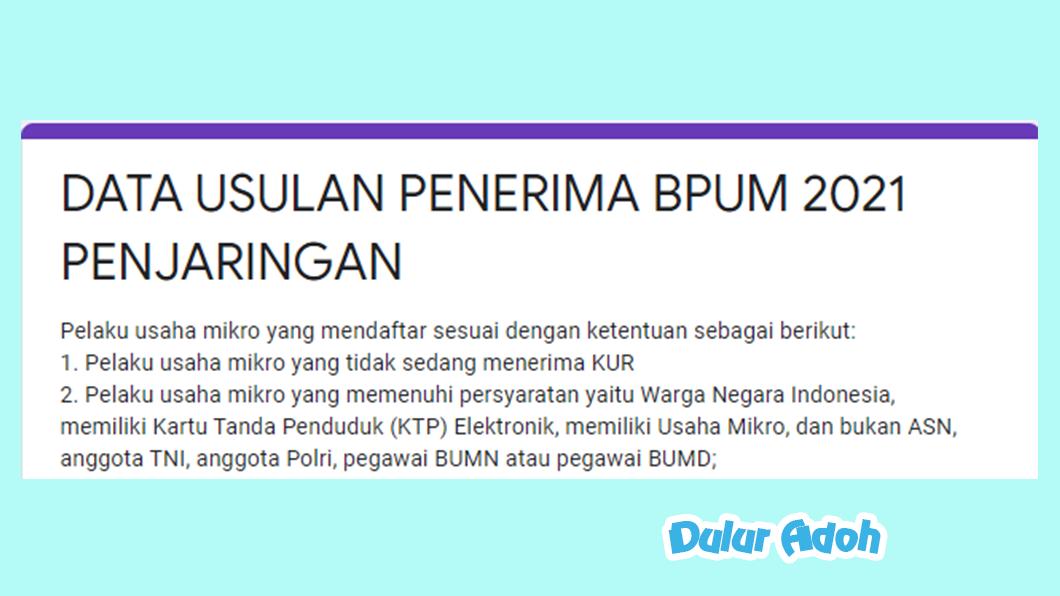 Link Pendaftaran BPUM 2021 Kecamatan Penjaringan Kota Jakarta Utara