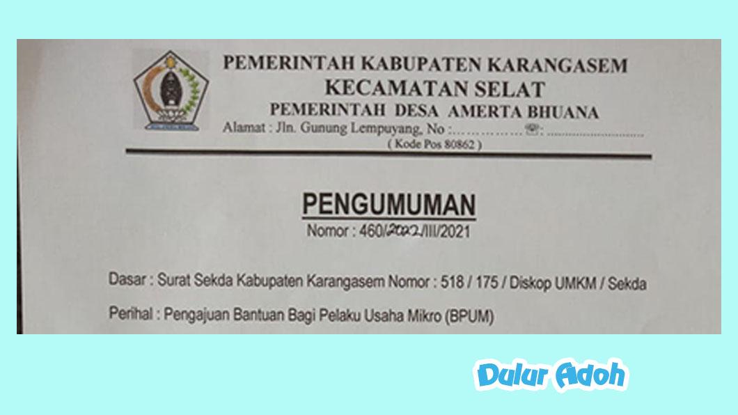 Link Pendaftaran BPUM 2021 Tahap 3 Kabupaten Karangasem Terbaru