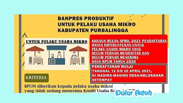 Link Pendaftaran BPUM 2021 Tahap 3 Kabupaten Purbalingga Terbaru