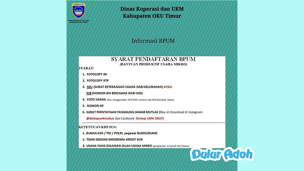 Link Pendaftaran BPUM 2021 Tahap 3 Kabupaten Ogan Komering Ulu Timur Terbaru