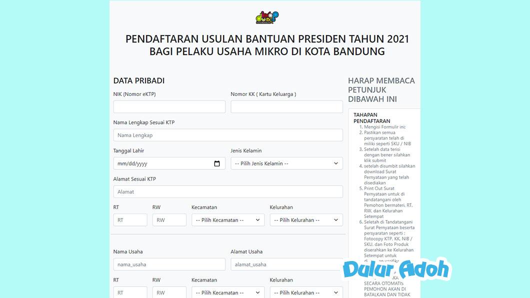Link Pendaftaran BPUM 2021 Kota Bandung https://siumkm.bandung.go.id/