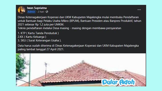 Link Pendaftaran BPUM 2021 Tahap 3 Kabupaten Majalengka Terbaru