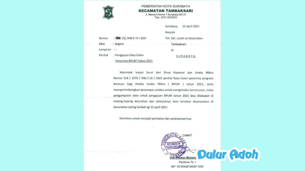 Link Pendaftaran BPUM 2021 Kota Surabaya Terbaru