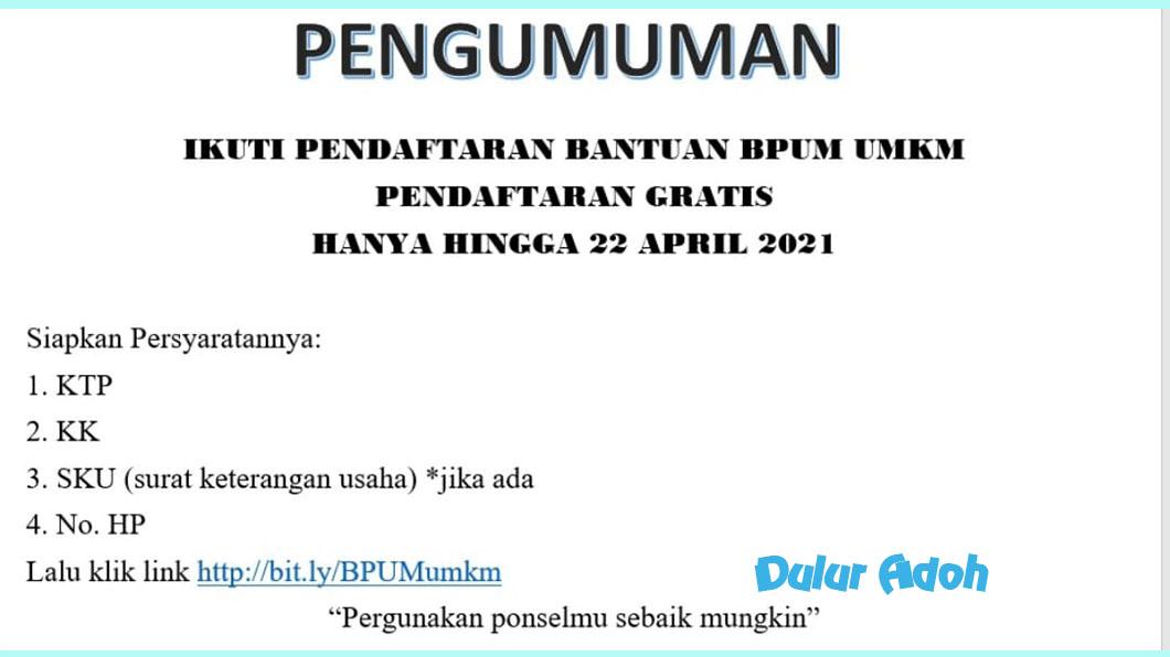 Link Pendaftaran BPUM 2021 Kabupaten Lampung Timur Terbaru https://bit.ly/BPUMumkm
