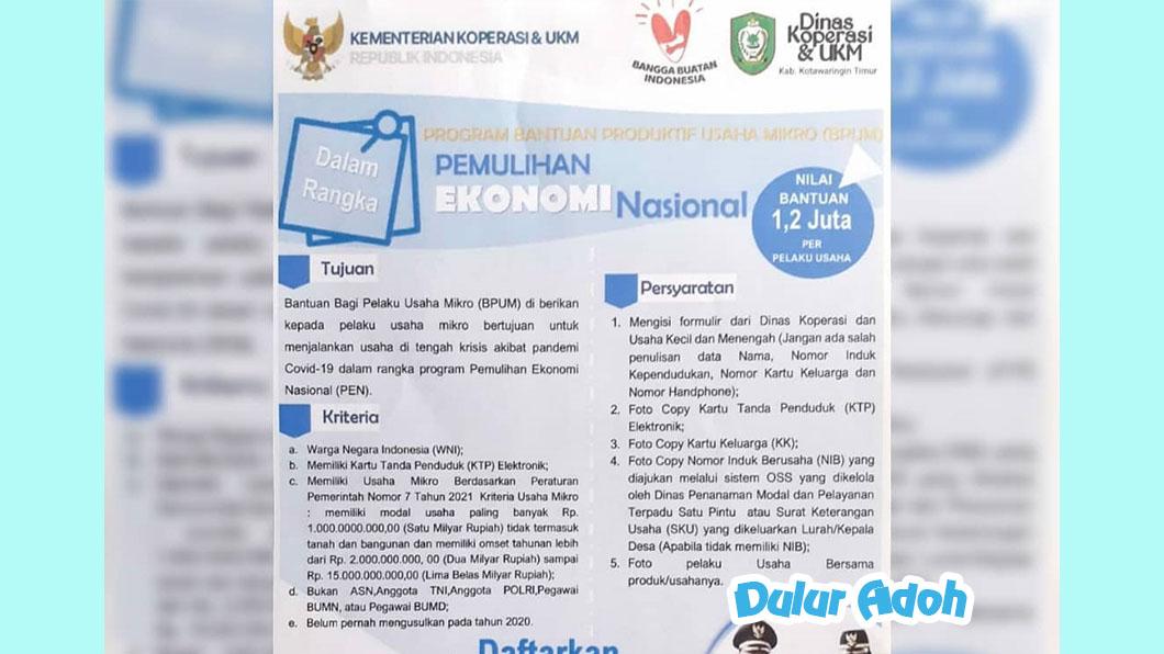 Link Pendaftaran BPUM 2021 Kabupaten Kotawaringin Timur Tahap 3 Terbaru