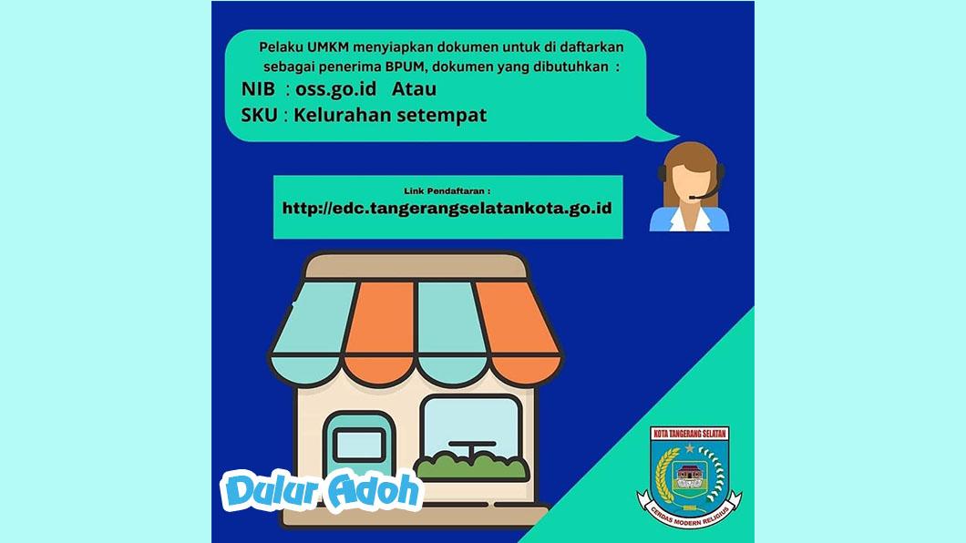 Link Pendaftaran BPUM 2021 Tahap 3 Kota Tangerang Selatan http://edc.tangerangselatankota.go.id