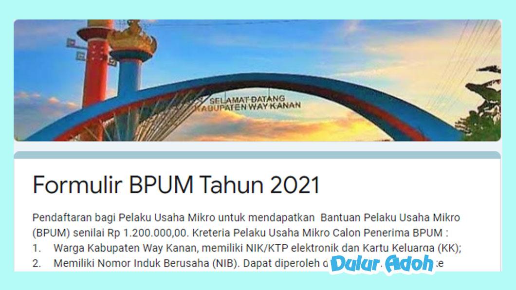 Link Pendaftaran BPUM 2021 Kabupaten Way Kanan https://bit.ly/bpum2021wk