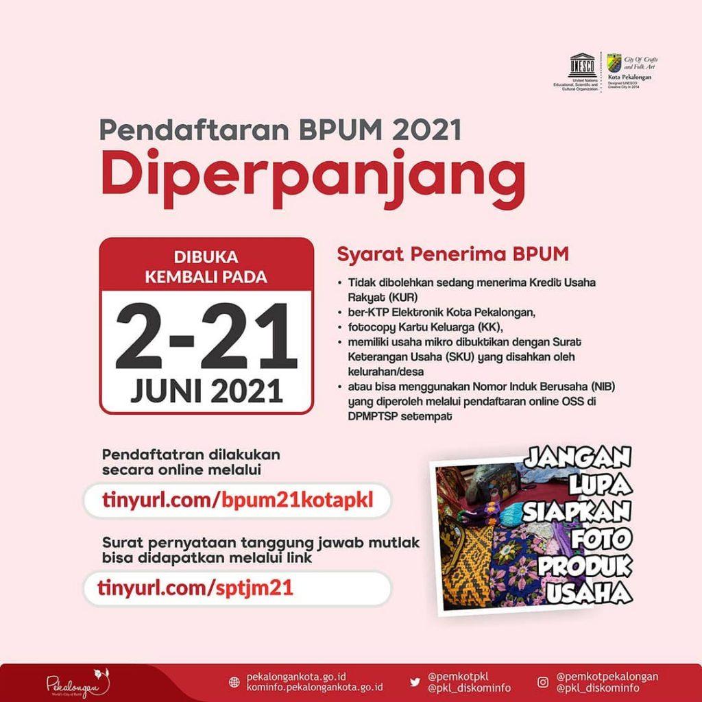 Brosur Edaran Pendaftaran Penerima BPUM 2021 Tahap II Kota Pekalongan