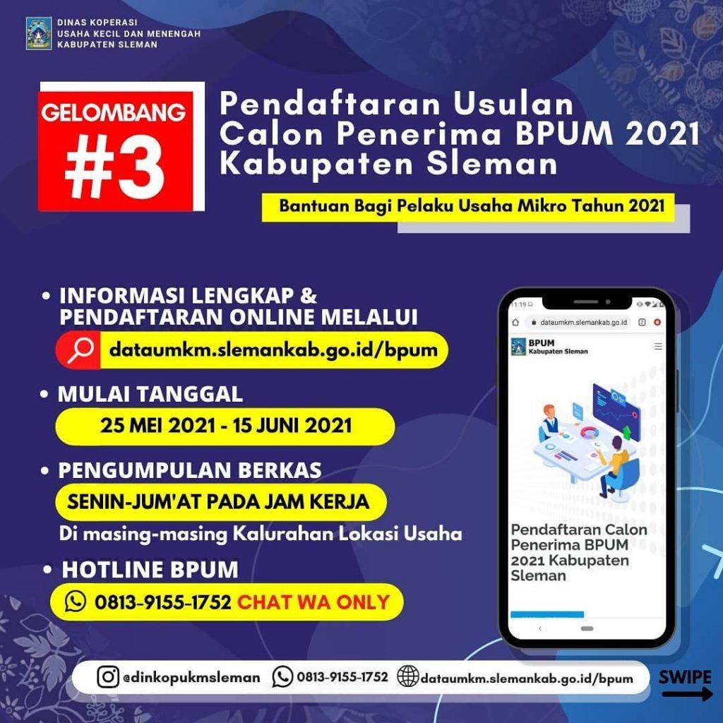 Brosur Pembukaan Pendaftaran Penerima BPUM 2021 Tahap II Kab. Sleman