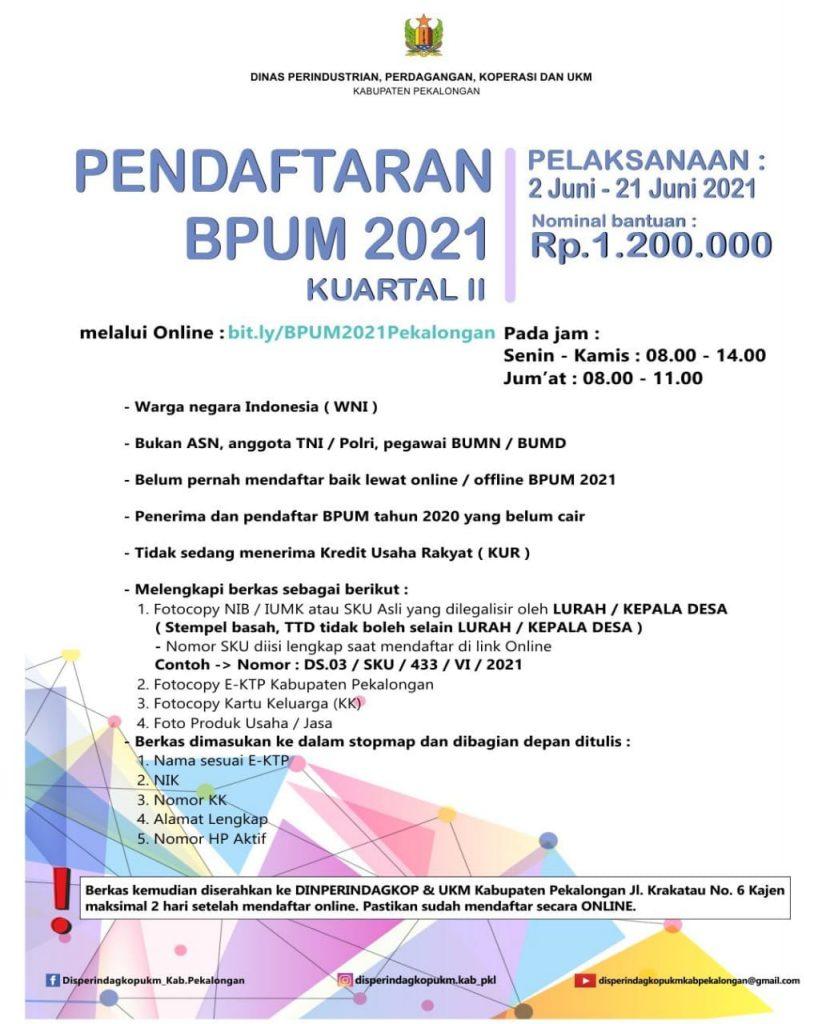 Brosur Pembukaan Pendaftaran Penerima BPUM 2021 Tahap II Kab Pekalongan