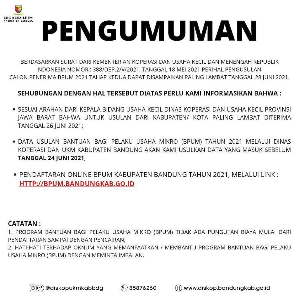 Brosur Pembukaan Pendaftaran Penerima BPUM 2021 Tahap II Kabupaten Bandung
