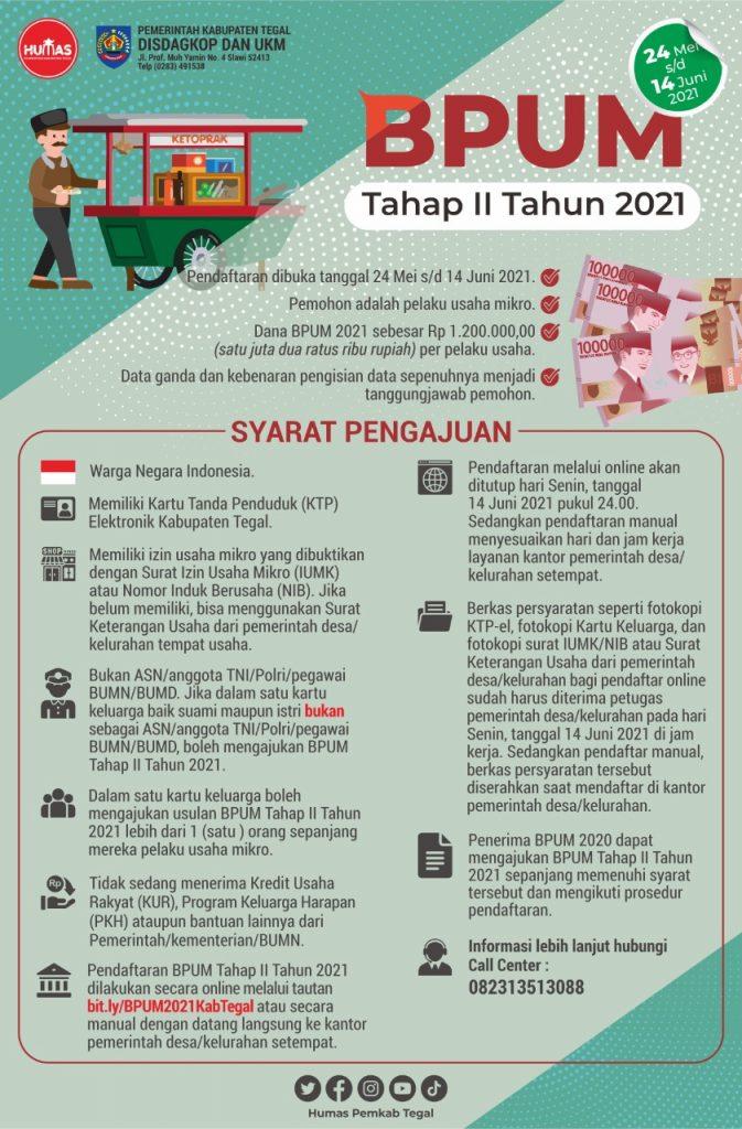 Brosur Pembukaan Pendaftaran Penerima BPUM 2021 Tahap II Kab. Tegal