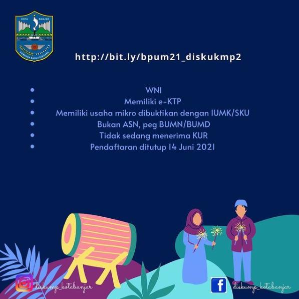 Brosur Pembukaan Pendaftaran Penerima BPUM 2021 Tahap II Kota Banjar