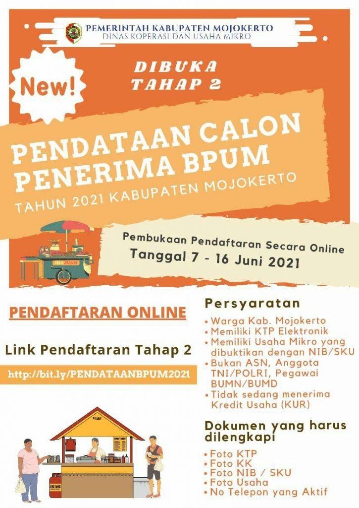 Brosur Pembukaan Pendaftaran Penerima BPUM 2021 Tahap II Kab. Mojokerto