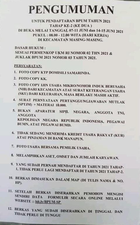 Brosur Pembukaan Pendaftaran Penerima BPUM 2021 Tahap II Kota Samarinda