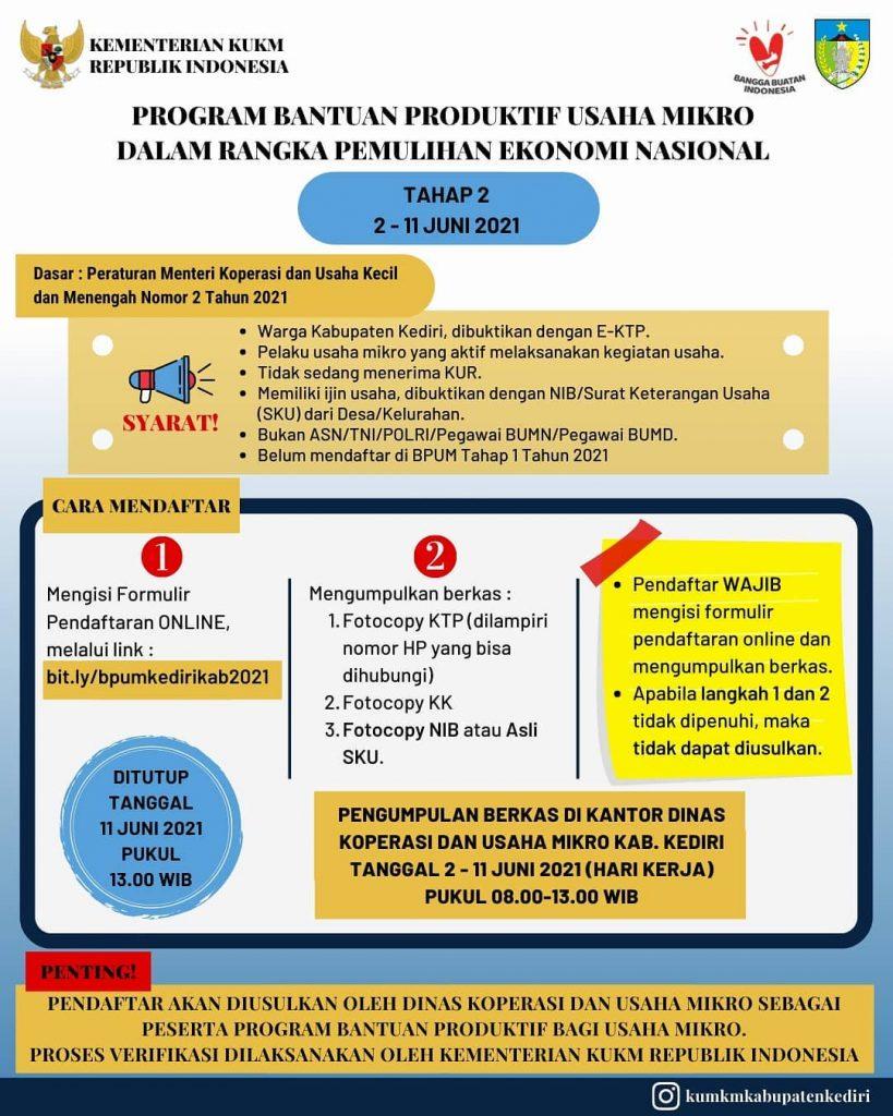 Brosur Pembukaan Pendaftaran Penerima BPUM 2021 Tahap II Kab. Kediri