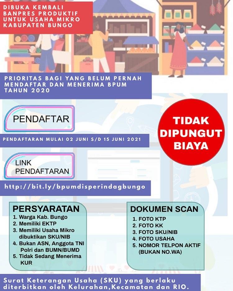 Brosur Pembukaan Pendaftaran Penerima BPUM 2021 Tahap II Kab. Bungo
