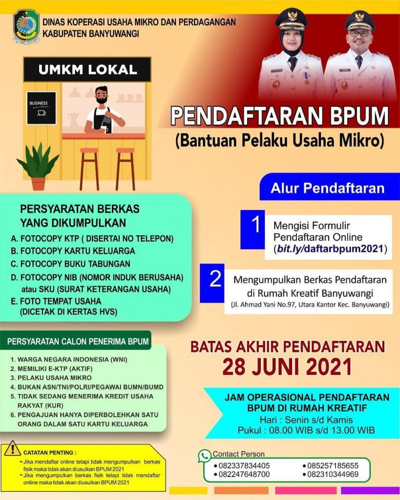 Brosur Pembukaan Pendaftaran Penerima BPUM 2021 Tahap II Kab. Banyuwangi