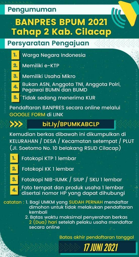 Brosur Pembukaan Pendaftaran Penerima BPUM 2021 Tahap II Kab. Cilacap