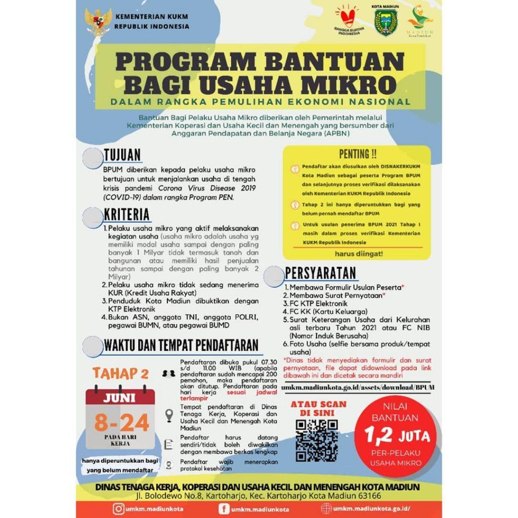 Brosur Pembukaan Pendaftaran Penerima BPUM 2021 Tahap II Kota Madiun