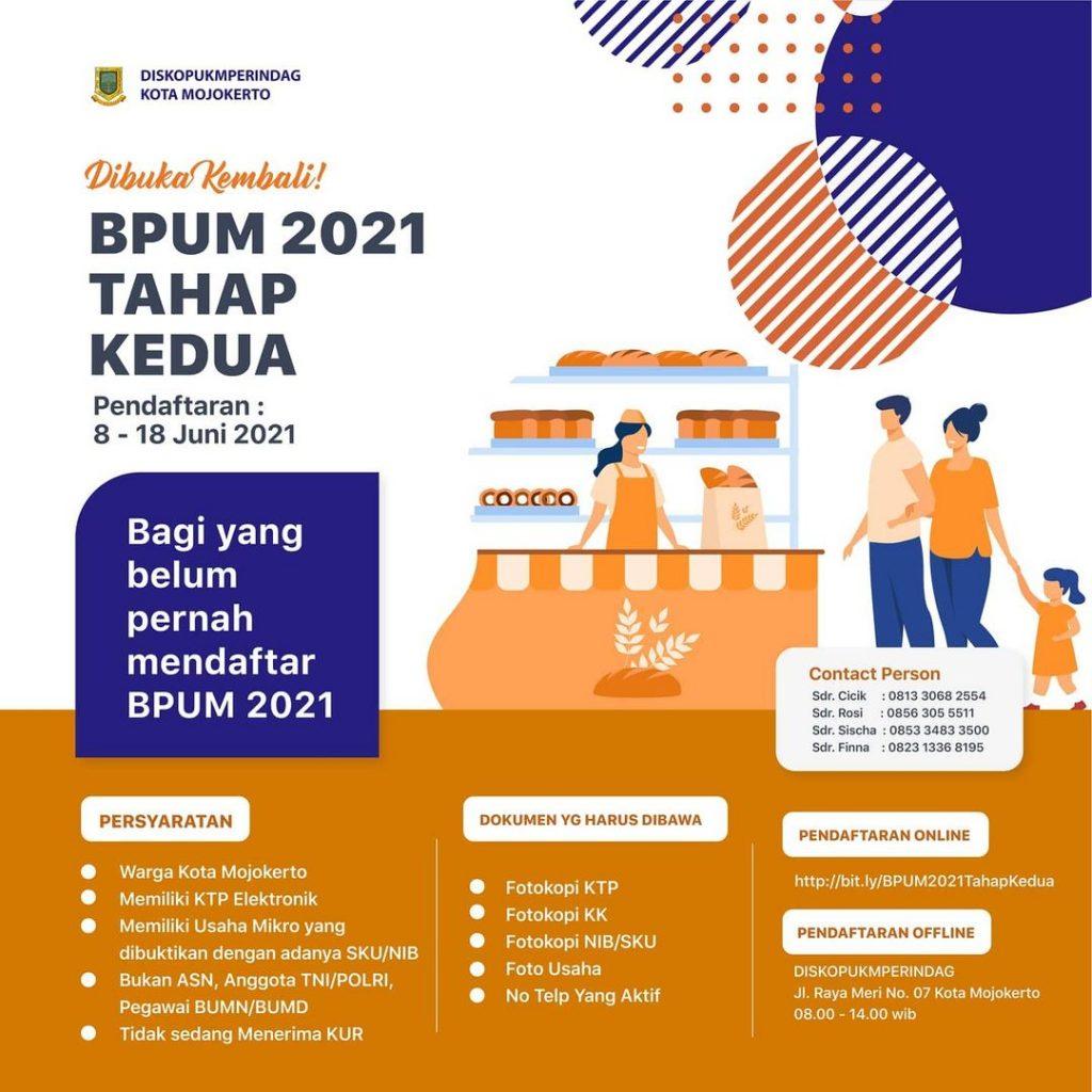 Brosur Pembukaan Pendaftaran Penerima BPUM 2021 Tahap II Kota Mojokerto