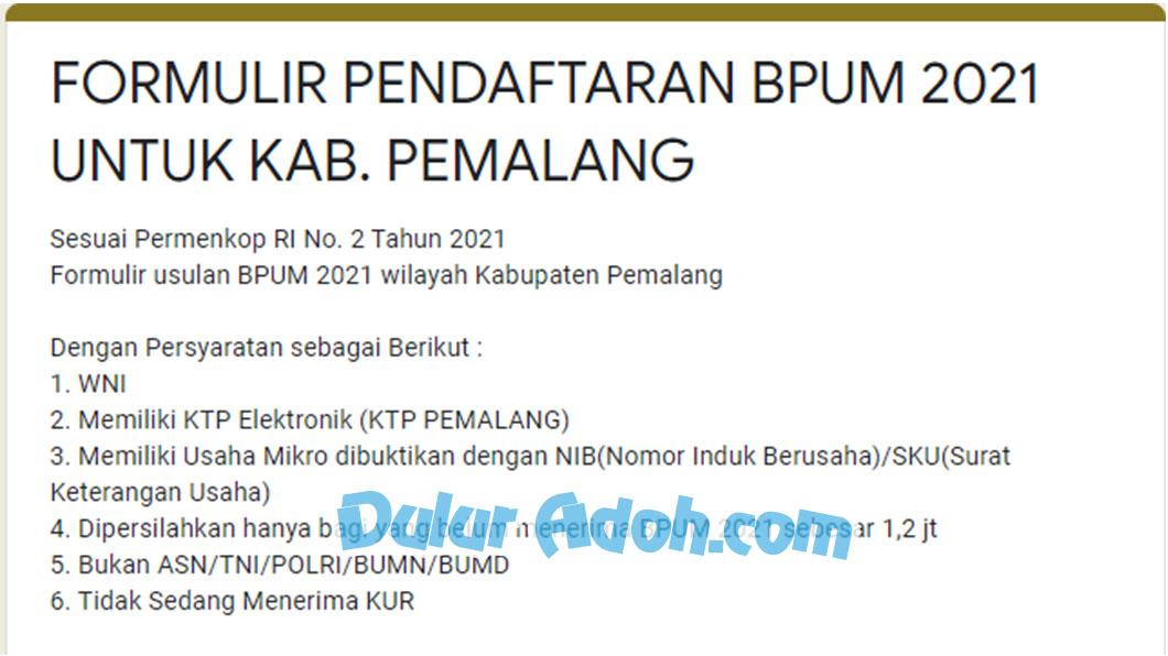 Klik Link Daftar BPUM Tahap 3 Kab. Pemalang Agustus 2021 bit.ly/Daftar-Online-BPUM2021-Pemalang