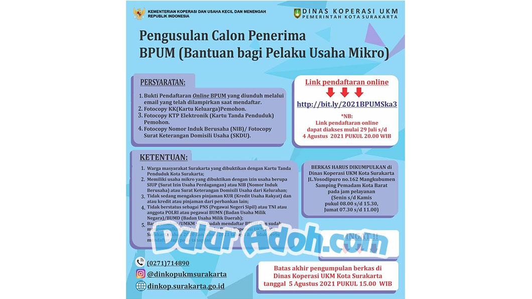 Klik Link Daftar BPUM Tahap 3 Kota Surakarta Agustus 2021 https:// bit.ly/2021BPUMSka3