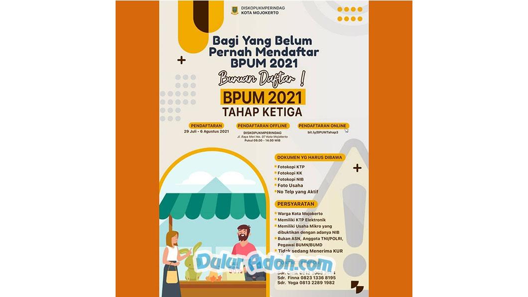 http://bit.ly/BPUMTahap3 Link Daftar BPUM Tahap 3 Kota Mojokerto Agustus 2021