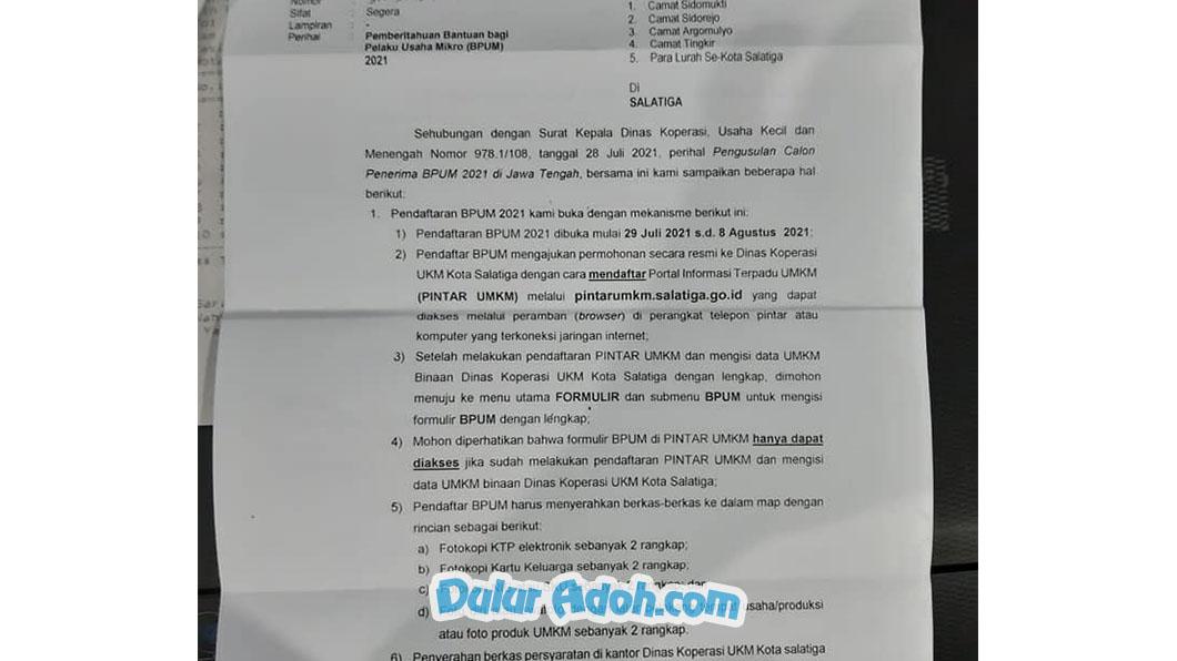 pintarumkm.salatiga.go.id Link Daftar BPUM Tahap 3 Kota Salatiga Agustus 2021