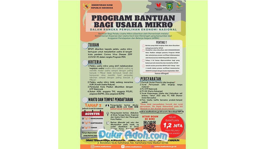 Info Link Pendaftaran BPUM Tahap 3 Kota Madiun Agustus 2021