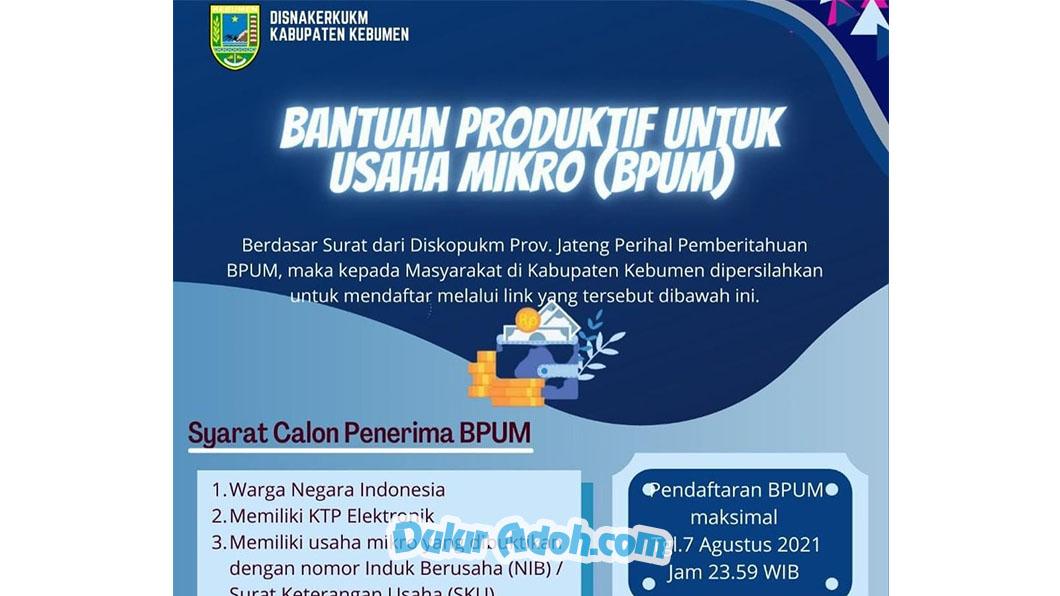 Klik Link Daftar BPUM Tahap 3 Kab. Kebumen Agustus 2021 http://dik.si/BPUMKABKEBUMEN