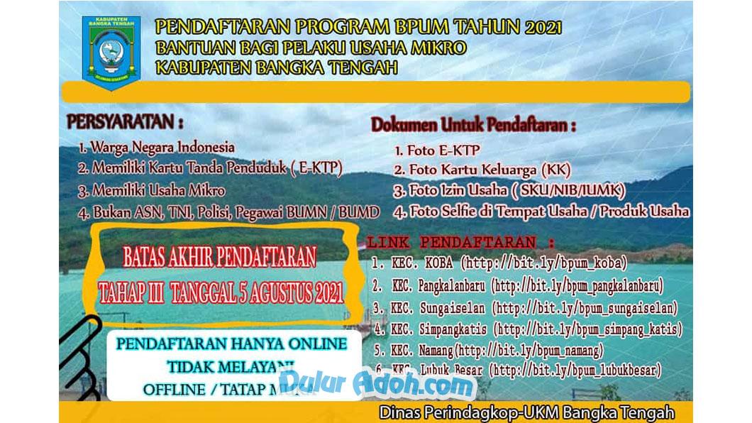 Link Daftar BPUM Tahap 3 Kab. Bangka Tengah Agustus 2021 https://bit.ly