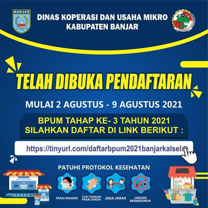 Brosur Pembukaan Pendaftaran Penerima BPUM 2021 Tahap III Kabupaten Banjar
