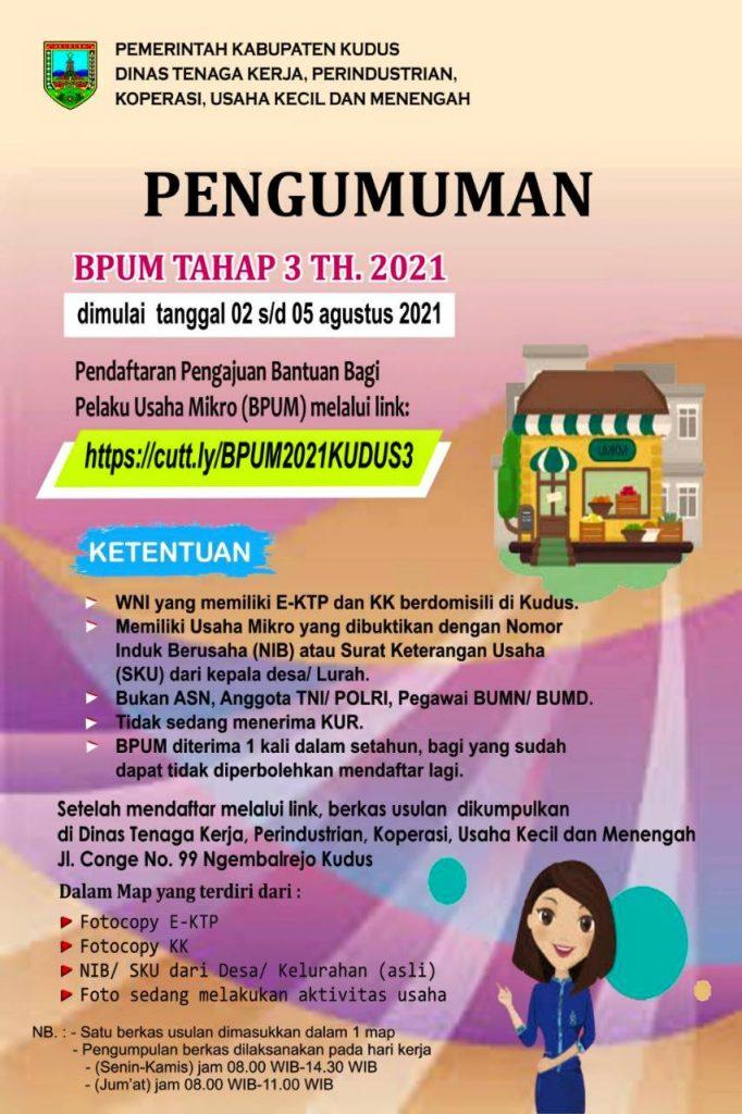 Brosur Pembukaan Pendaftaran Penerima BPUM 2021 Tahap III Kabupaten Kudus
