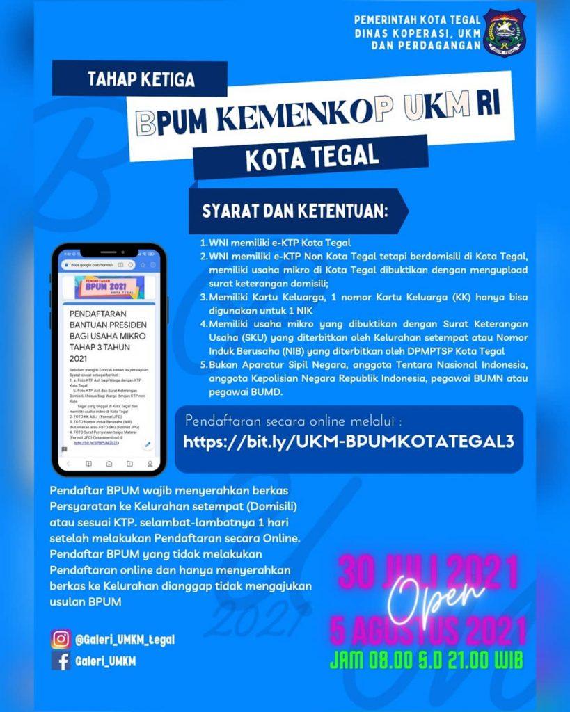Brosur Pembukaan Pendaftaran Penerima BPUM 2021 Tahap III Kota Kendal