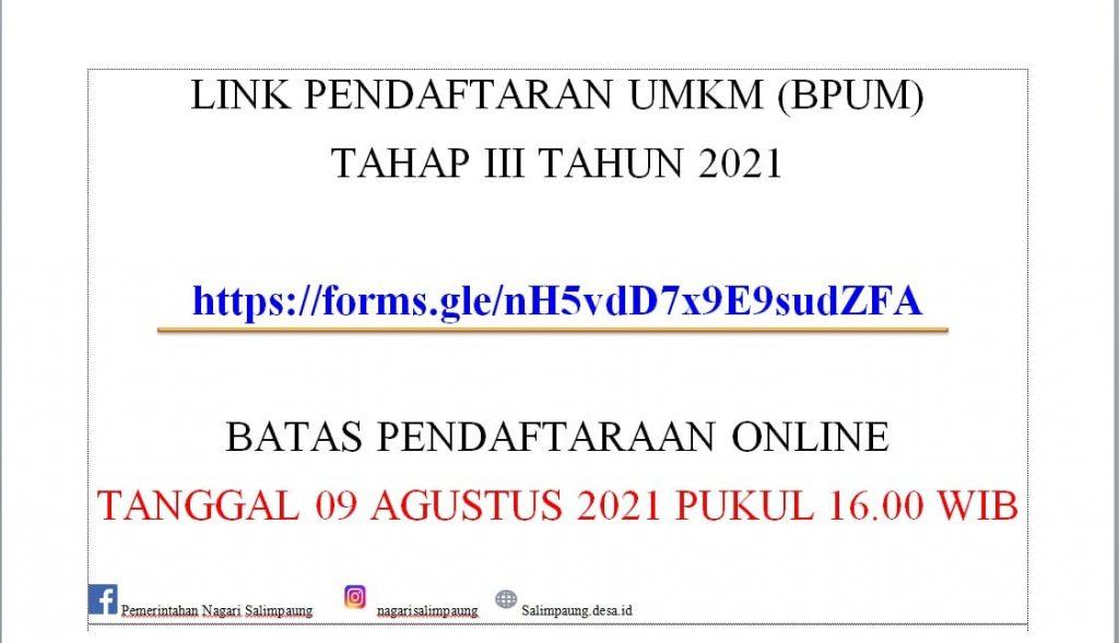 Brosur Pembukaan Pendaftaran Penerima BPUM 2021 Tahap III Kabupaten Tanah Datar
