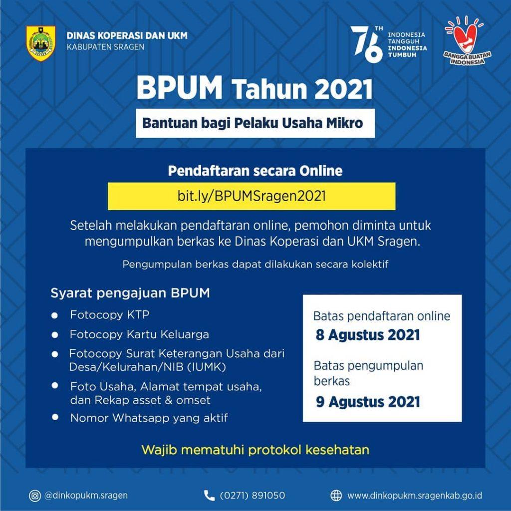 Brosur Pembukaan Pendaftaran Penerima BPUM 2021 Tahap III Kabupaten Sragen