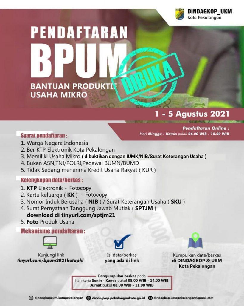 Brosur Pembukaan Pendaftaran Penerima BPUM 2021 Tahap III Kota Pekalongan