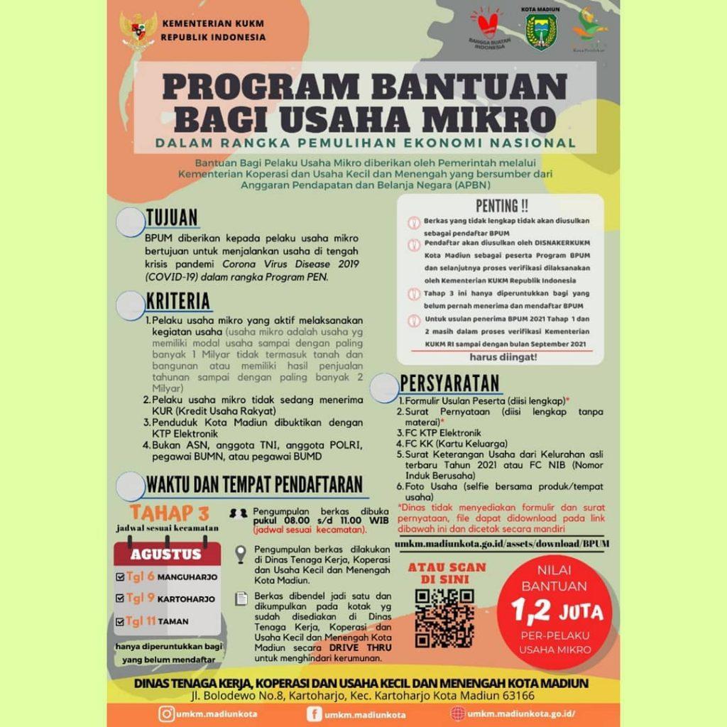 Brosur Pembukaan Pendaftaran Penerima BPUM 2021 Tahap III Kota Madiun