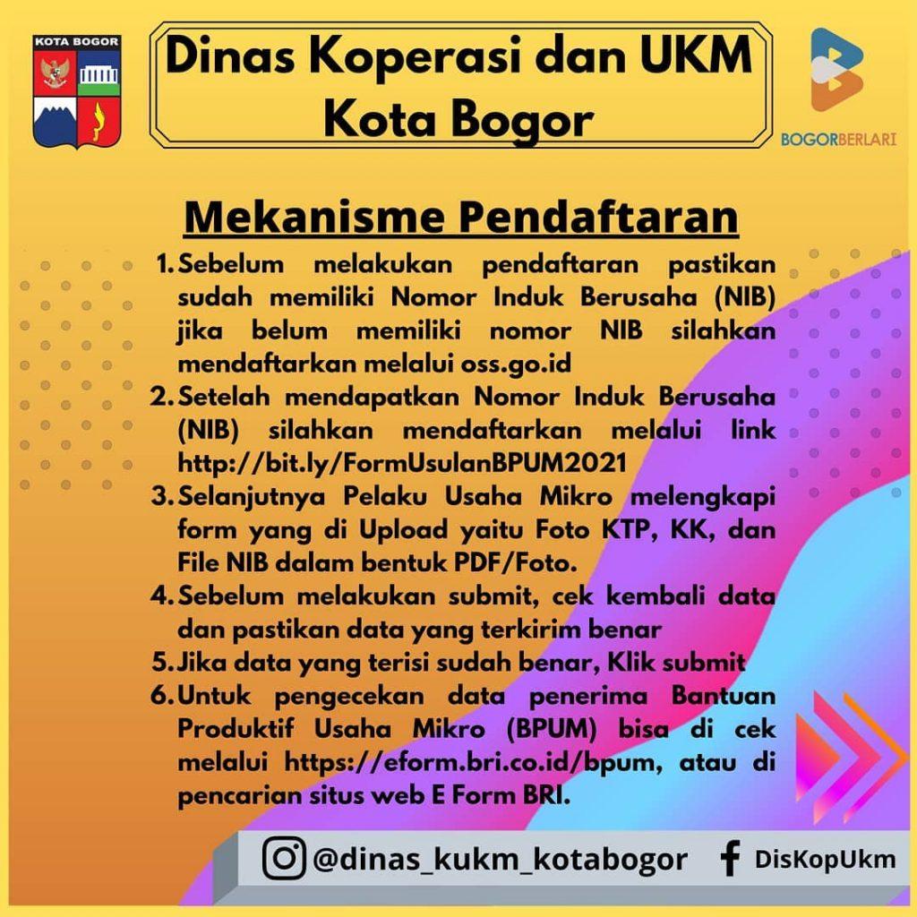 Brosur Pembukaan Pendaftaran Penerima BPUM 2021 Tahap III Kota Bogor 2